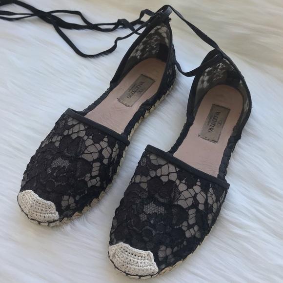 24508902b07 Authentic Valentino Black Lace Espadrilles